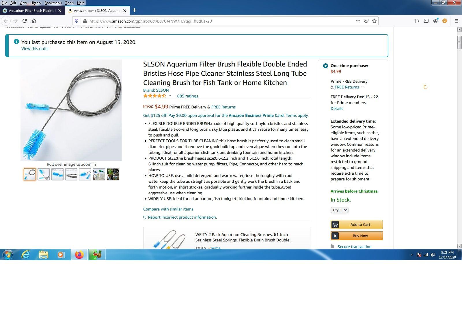 SLSON Aquarium Filter Brush Flexible Double Ended Bristles Hose Pipe Cleaner Stainless Steel L...jpg